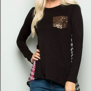 Black/Wine Contrast Top